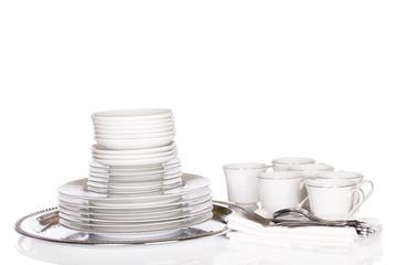Dinnerware, stacks of white chinaware