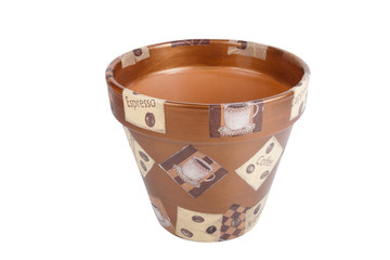 ceramic flowerpots with drawings isolated on white background