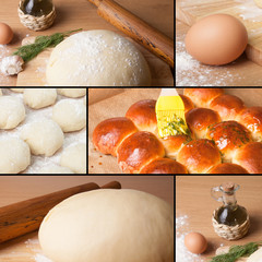 collage of pictures with baking homemade bread