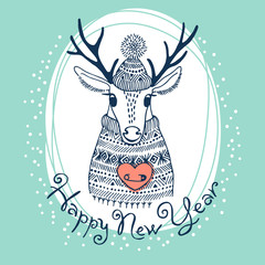 Hand drawn vector illustration with cute deer. Happy New Year