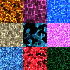 Set of cyber glow seamless generated textures