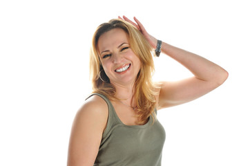 Portrait of young smiling blonde  with  raised hand
