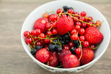close-up bowl with berries