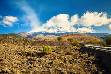Etna smoking in spring
