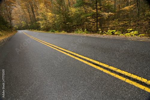 Fotobehang Natuur Park Mountain Road In Autumn Rain