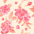 Watercolor seamless wallpaper with Peony flowers in vector.