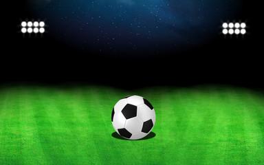 Stadium and soccer ball green field