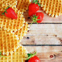 background with strawberries and waffles