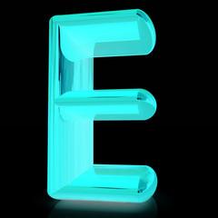 """Alphabet on black background. Letter """"E"""""""