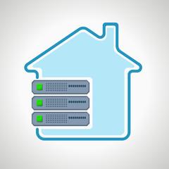colocation Cloud technologies. Computer icon server. design