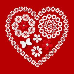 Muster Herz Serviette rot