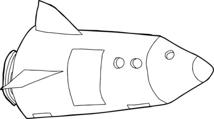 Outlined Space Rocket