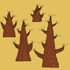 Set of Four Old Trees