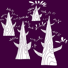 Trees Over Purple Background