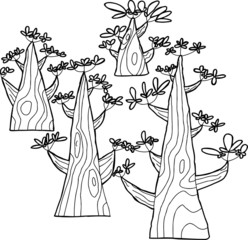 Outlined Spring Trees