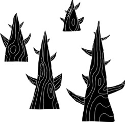 Set of Four Trees in Black