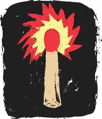 doodle grunge burning match icon isolated on black