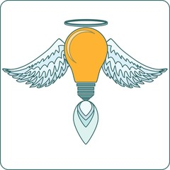 Glowing Light Bulb  with Angel Wings,  Halo and a Flame. Stock