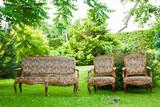 vintage sofa on the grass