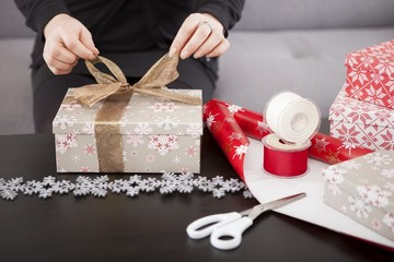 close up of gift box preparing for christmas