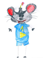 blue mouse with number one. child drawing