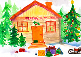 Christmas ornate winter home in forest. Childlike drawing. poster
