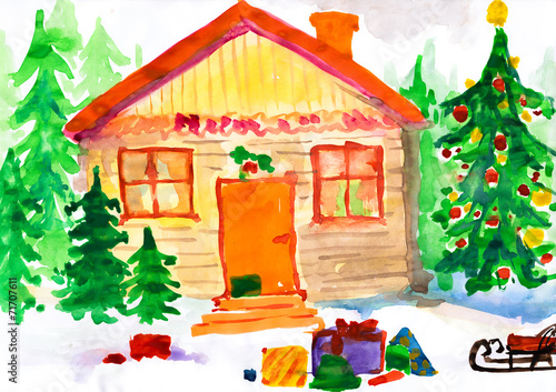 poster of Christmas ornate winter home in forest. Childlike drawing.