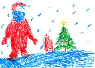 Santa goes on snow. Child drawing.
