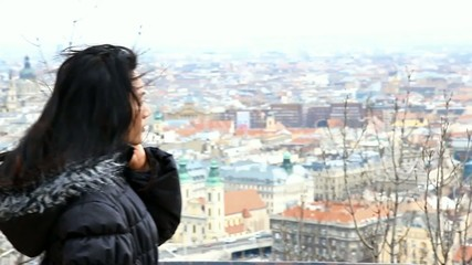 woman watching Budapest from prospects