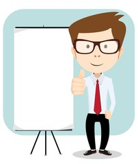 Cartoon Business man explaining and pointing at blank white