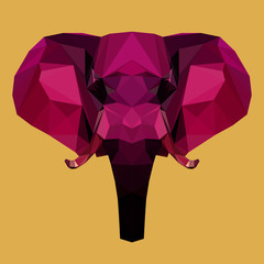 bright colored polygonal elephant background