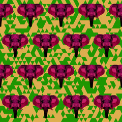 bright colored  polygonal elephant pattern background