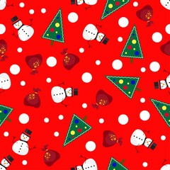 vector pattern background with funny snowman and gifts