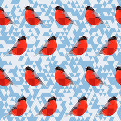 vector polygonal bullfinch pattern