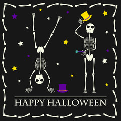 Halloween vector background with funny skeletons