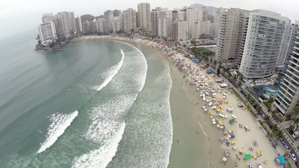 Aerial view from a summer day at Beach in São Paulo