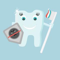 Cartoon tooth vector illustration