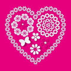 Muster Herz Serviette pink