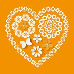 Muster Herz Serviette gelb
