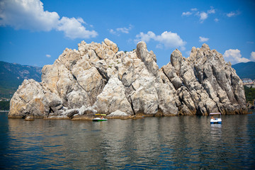 Adalary rocks in the Black Sea, Crimea, Russia. suburb of Yalta