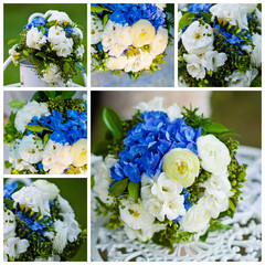 collage of wedding bouquets in blue style