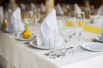 Served table with dishes and glasses