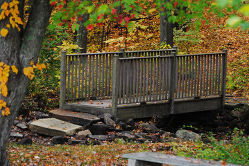 Old Wooden Bridge with an Autumn Background