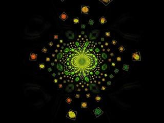 Fond d'écran noir vert avec motifs