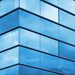 Modern office facade fragment, blue glass and steel frames - 71710203