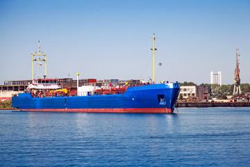Blue LPG gas carrier. Industrial cargo ship moored in Burgas