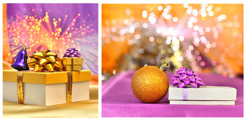 Christmas box and christmas golden bauble