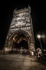 Charles Bridge at night,Prague,Czech Republic.