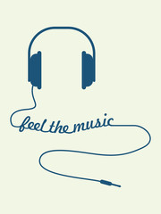 Vector headphones with feel the music text