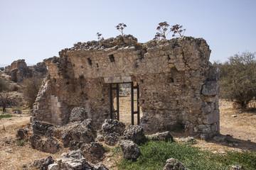 Rear of main entrance to public baths at Aptera, Crete